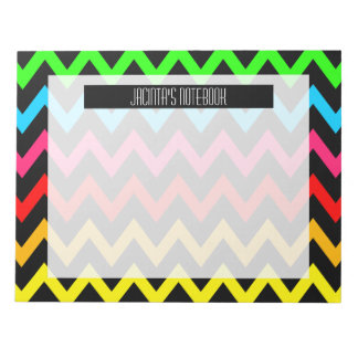 Personalized Bright Colorful Trendy Chevron Zigzag Notepad