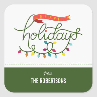 Personalized Bright Holidays Christmas Square Sticker