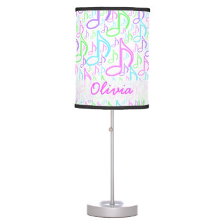 Personalized Bright Neon Music Note Collage Table Lamps