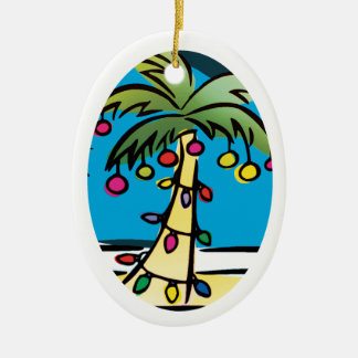 Personalized Bright Palm Tree Christmas Ornament