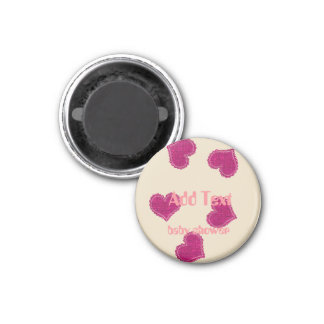 Personalized Bright Pink Hearts Cute Baby Kids Magnet