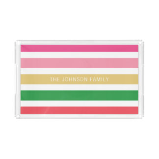Personalized Bright Preppy Horizontal Striped Acrylic Tray