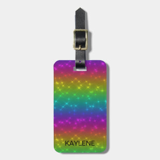 Personalized Bright Rainbow Sparkles Luggage Tag