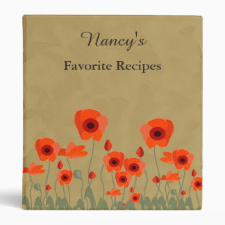 Personalized Bright Red Poppies Recipe Book Vinyl Binders