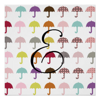 Personalized Bright Umbrellas Monogram Poster