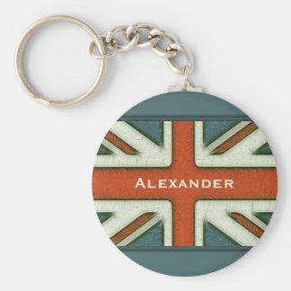 Personalized British Flag Basic Round Button Keychain