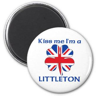 Personalized British Kiss Me I'm Littleton 2 Inch Round Magnet