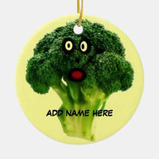 Personalized Broccoli Cartoon Ceramic Ornament
