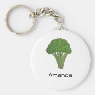 Personalized broccoli keyring basic round button keychain
