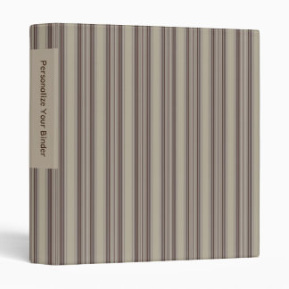 "Personalized Brown and Beige Striped 1"" Binder"