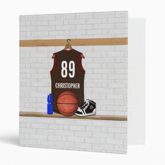 Personalized Brown and Orange Basketball Jersey Vinyl Binder