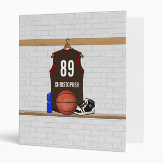 Personalized Brown and Red Basketball Jersey 3 Ring Binder