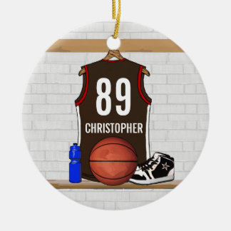 Personalized Brown and Red Basketball Jersey Round Ceramic Ornament