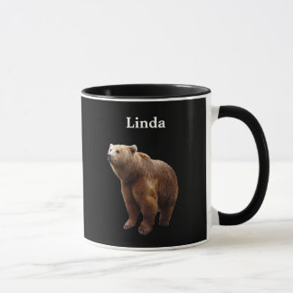 Personalized Brown Bear On Black Mug