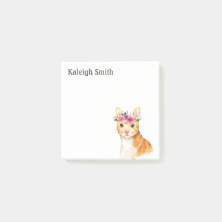 Personalized  Brown Cat Kitten Purple Pink Floral Post-it Notes
