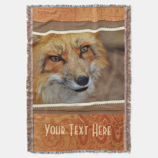 Personalized Brown Fox Photography Print Throw