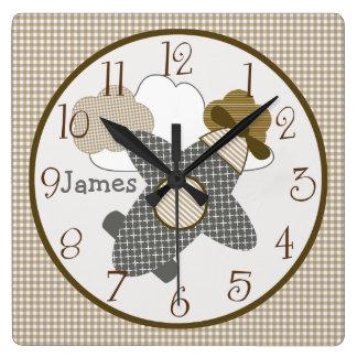 Personalized Brown Gingham Airplane Nursery Clock