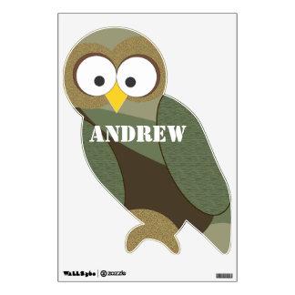 Personalized Brown Green Tan Camo Owl Wall Decal
