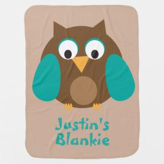 Personalized Brown Owl Blankie Baby Blanket