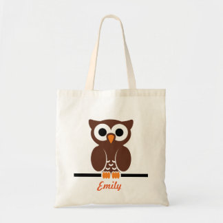 Personalized Brown Owl kids Budget Tote Bag