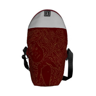 Personalized brown, white and red bags messenger bags