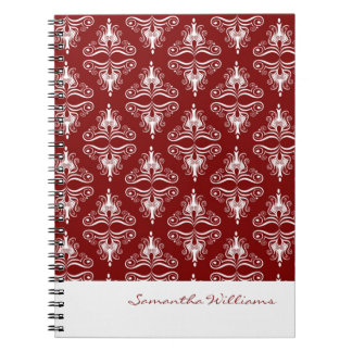 Personalized Brown White Damask Notebook