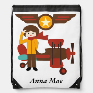Personalized Brunette Girl Pilot Drawstring Bag