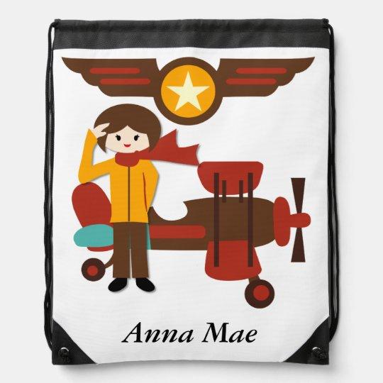 Personalized Brunette Girl Pilot Drawstring Bag