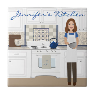 Personalized Brunette Kitchen Cook Tile