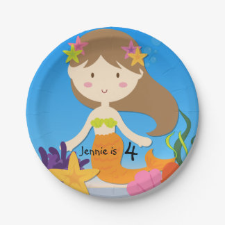 Personalized Brunette Mermaid Birthday Paper Plate 7 Inch Paper Plate