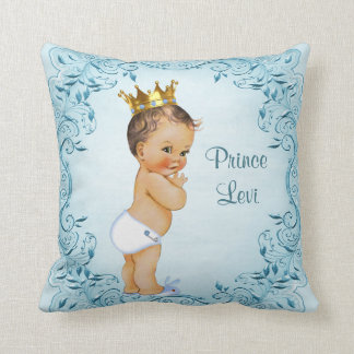 Personalized Brunette Prince Blue Leaves Throw Pillow