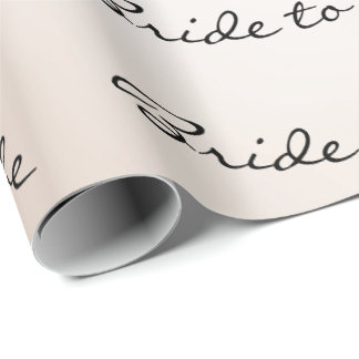 Personalized Brush Bride To Be Ivory Name Pearl Wrapping Paper
