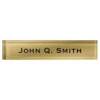 Personalized Brushed Gold Nameplate