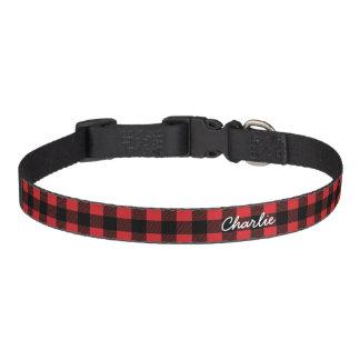Personalized Buffalo Check Plaid Dog Collar