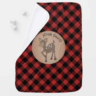 Personalized Buffalo Plaid Deer Blanket