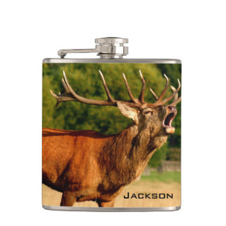 Personalized Bugling Bull Elk Hip Flask