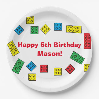 """Personalized """"Building Blocks"""" Paper Plates 9 Inch Paper Plate"""