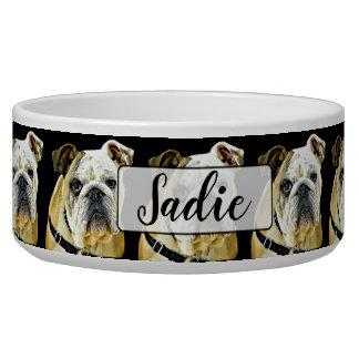 Personalized Bulldog black Dog Bowl