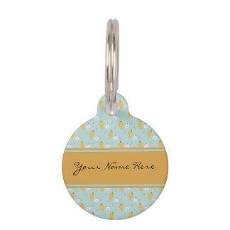 Personalized Bunny & Carrot Pattern on Pastel Blue Pet ID Tag