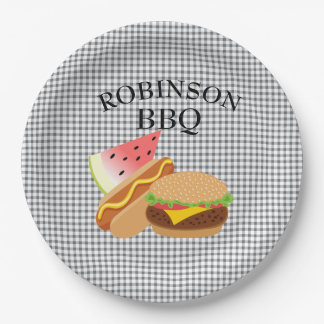 Personalized Burger, Hotdog & Watermelon Plates 9 Inch Paper Plate