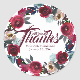 Personalized Burgundy Red Floral Wedding Thank You Classic Round Sticker