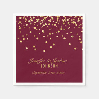 Personalized BURGUNDY Red Gold Confetti Wedding Paper Napkins