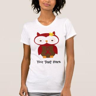 Personalized Burgundy Ribbon Owl T Shirt