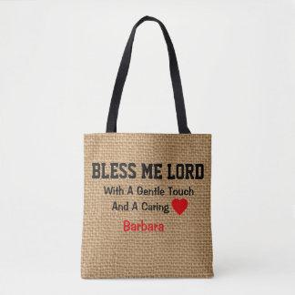 Personalized  Burlap Print Prayer  for Nurses Tote Bag