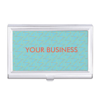 Personalized Business Card Holder - Blue Pattern