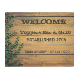 Personalized Business Welcome Sign Wood w/Ivy