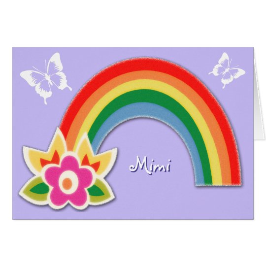 Personalized Butterflies and Rainbow Note Cards