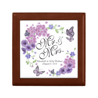 Personalized Butterflies Floral Wedding Gift Box