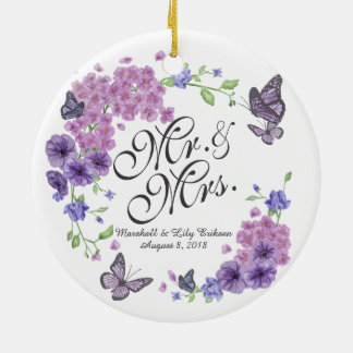 Personalized Butterflies Floral Wedding Ornament