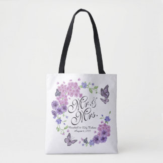 Personalized Butterflies Floral Wedding Tote Bag